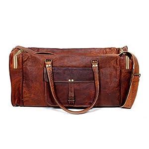 24″Leder handgefertigt Reisegepäck Vintage Übernachtung am Wochenende Duffle Gym Bag