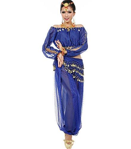Astage Mujeres Danza del Vientre Disfraz Active Wear Top Pantalones Cinturón Sets Azul Real