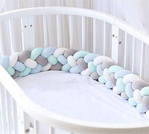 Milopon – Tour de lit tressé – 4tisages - Utilisé en crèche pour protéger la tête des bébés des chocs – 2m, 2,5m, 3m, Blanc + gris + bleu + vert., 3m