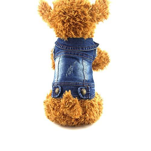 ABRRLO Pet Dog Denim Jas Jeans Jas Puppy Kat Kleding voor Kleine Medium Honden, XS, Blauw