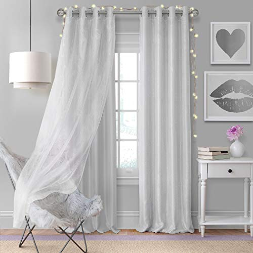 Elrene Home Fashions Aurora Solid Faux Silk with Sheer Sparkle Overlay Room Darkening Window Curtain Panel, 52u0022 W x 108u0022 L (1, Pearl Gray