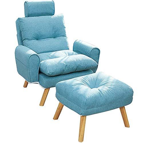 WSDSX Schlafzimmer Klappbarer gepolsterter Bodenstuhl Ventilierter Stoffkissen Loungesessel Klappbare Rückenlehne Gelegentlicher Akzentstuhl mit Fußschemel für Schlafzimmer Wohnzimmer Büro (F