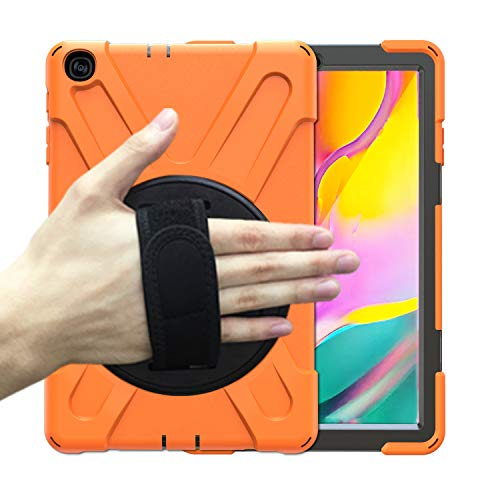 BRAECN Galaxy Tab A 10.1 2019 Case, Heavy Duty Shockproof Rugged Case with Rotating Hand Strap/Stand Shoulder Strap for Samsung Tab A 10.1 SM-T510/T515 2019 Model-Kids Student -Orange