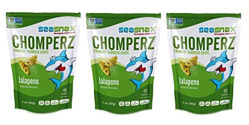 SeaSnax, Chomperz, Crunchy Seaweed Chips, Jalapeno, 1 oz (30 g)
