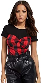 New York & Co Womens Plaid Bustier TEE (XS) Red