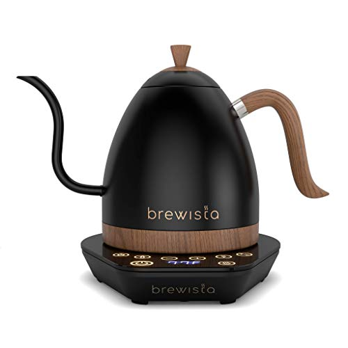 Brewista Artisan Mattschwarz | Elektrischer Wasserkocher | Schwanenhalsauslauf | Temperaturregelung | Slow Coffee Barista | 1,0 L