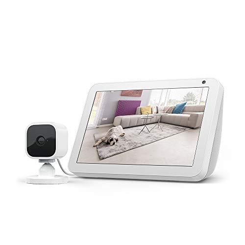 Echo Show 8, Tela de color gris claro + Blink Mini Cámara, compatible con Alexa
