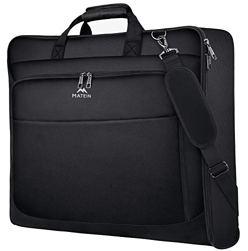Travel Garment Bag, Large Carry on Garment Bags with Strap for Business, Matein Waterproof Hanging Suit Luggage Bag for Men Women, Wrinkle Free Suitcase Cover for Shirts Dresses Coats, Black