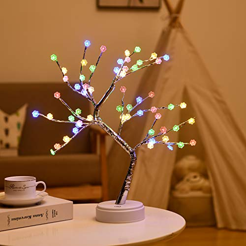 Colorful Plum Tree Lamp - Fairy Light Spirit Tree - Artificial Bonsai Tree Light - Lit Tabletop Tree ,Battery USB Operated,Fairy Tree Lamp for Bedroom,Party Home Decoration,Wedding Gift