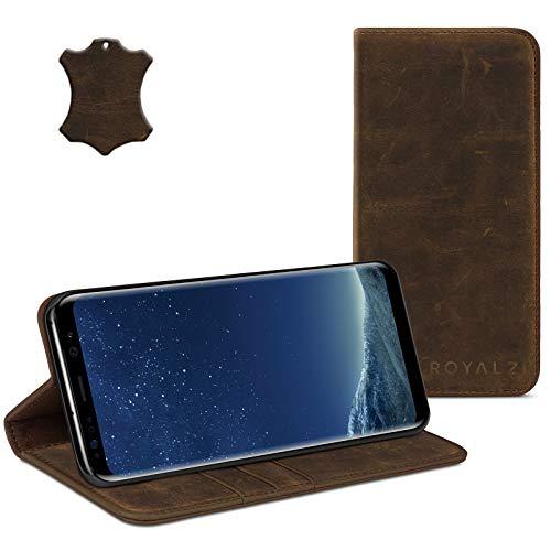 ROYALZ Ledertasche für Samsung Galaxy S8 Plus Lederhülle (für Galaxy S8+ SM-G955F / G955 & Galaxy S8 Plus Duos) Tasche Cover Hülle Schutzhülle - Magnetverschluss, Farbe:Braun