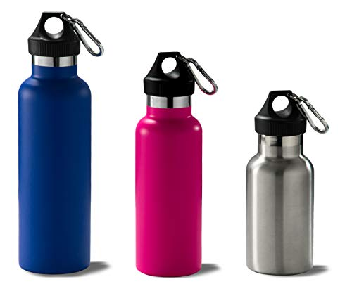 ILSA Cantimplora térmica de acero inoxidable 18/10, colorida, doble pared, funda, mosquetón, botella térmica – 35/50/75 cl (35 cl, gris)
