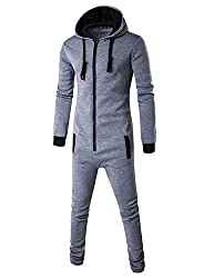 Haseil Men's Onesie Pajama Non Footed Zip Up Adult With Hoodie One Piece Jumpsuit