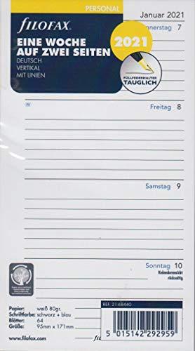 Filofax 2021 Kalender Personal A6 Einlage 1Woche 2Seiten Wochenblätter Deutsch Kalendarium 21-68440