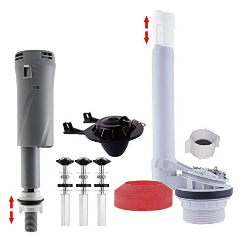 iFealClear Toilet Repair Kits, Universal 2-Inch Flush Valve Repair Kit with Fill Valve,Toilet Tank Repair Kit Include Toilet Tank to Bowl Gaskets &Bolt and Black Toilet Flapper Accessories, All In One