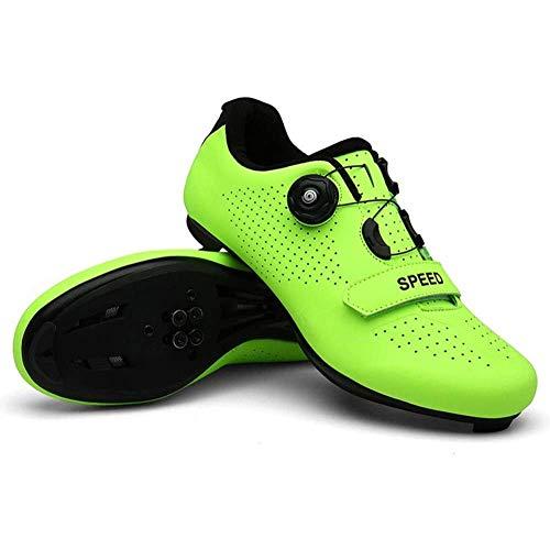 KUXUAN Zapatos De Ciclismo Hombres,Zapatos De Ciclo Antideslizantes De La Cerradura Calzan El Adulto Respirable De Los,Green-40EU