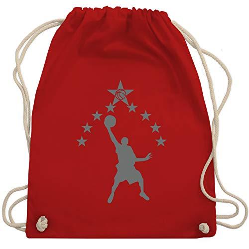 Shirtracer Basketball - Basketball Sterne - Unisize - Rot - WM110 - Turnbeutel und Stoffbeutel aus Bio-Baumwolle