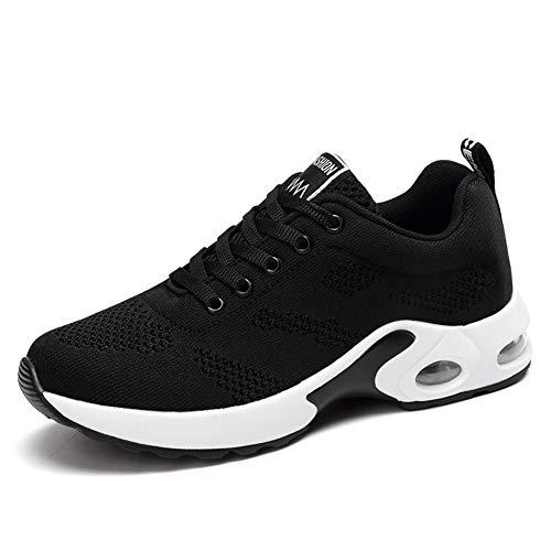 IceUnicorn Damen Laufschuhe Luftkissen Sportschuhe Walkingschuhe Outdoor Gym Jogging Laufen Turnschuhe Sneaker(2#Schwarz, 39EU)