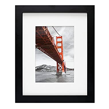 Frametory, 8x10 Black Picture Frame - Made to Display Pictures 5x7 Photo with Ivory Color Mat - Wide Molding - Preinstalled Wall Mounting Hardware (8x10, Black)