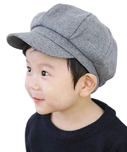 Kids Boys Girls Winter 8 Panels Newsboy Caps Wool Flat Beret Cabbie Hat for Toddler Baby,2 to 7 Years