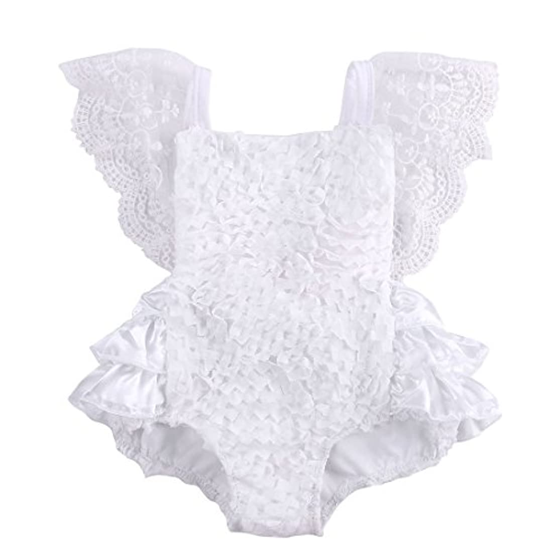 Newborn Baby Girls Lace Floral Bodysuit Tutu Onesies Romper Jumpsuit Fly Sleeve Clothes Summer Outfits wxsamoqa5