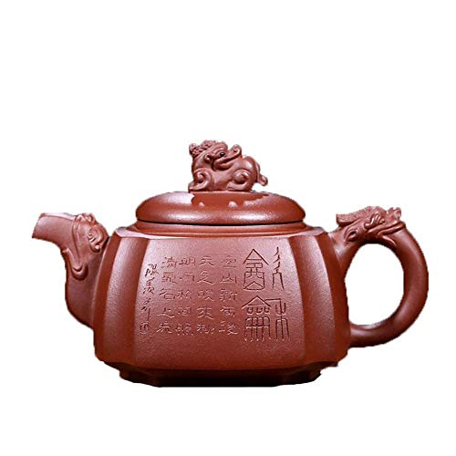 ADSE Tetera Taza de té Famosa Tetera de Arcilla Morada Estatua del dragón del cuarteto de Kung Fu (Color: Barro Morado)