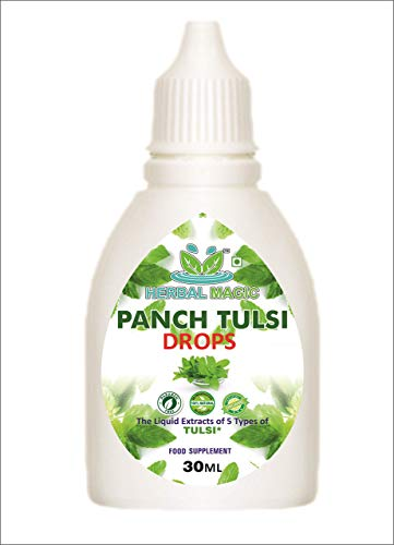 Extract of Five Types of Holy Basil Liquid / Drops 30ml ( Panch Tulsi Drops) - Boosts Immunity Energy Digestion. (Panch Tulsi Drop - Pack 1)