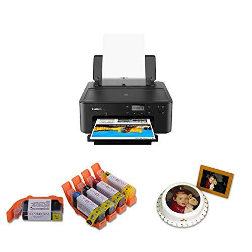 Zertifiziertes Lebensmitteldrucker KOMPLETT-SET - DIN A4 inkl. 5 Lebensmittelpatronen und 25 Blatt Esspapier/Oblatenpapier - NEUES KOMPAKTES MODELL - Perfekt für Anfänger und Profis