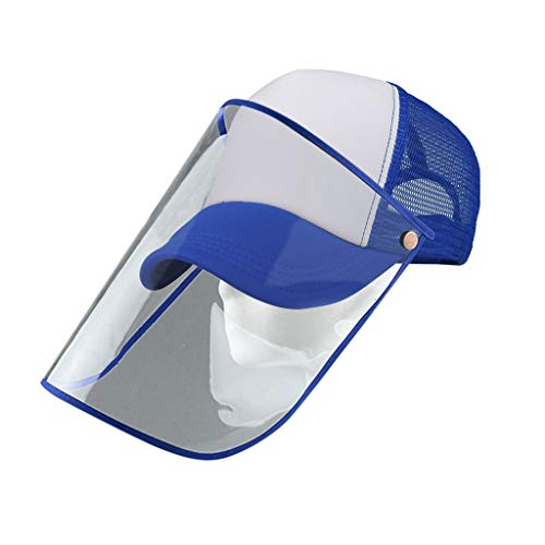 Shineshae Kreativ 2 in 1 Gesichtsvisier Baseballmütze Transparent Komplett Klappvisier Spucke Gesichtsschutz Schutzschild Baseball Cap für Einkaufen Outdoor-Aktivitäten (E)