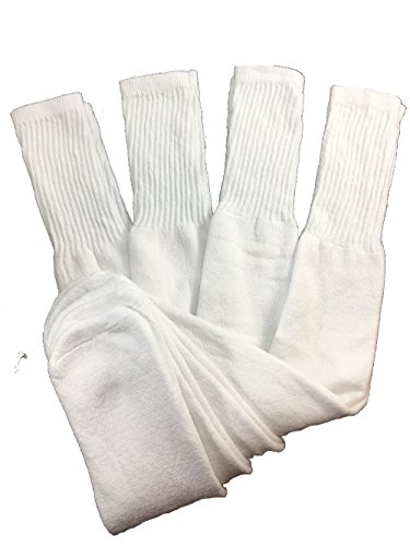 Mens Big and Tall Sports Tube Socks Long Over the Calf - 24 inch (4 Pairs) (White)