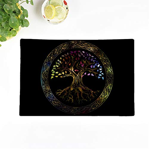 Topyee Set of 6 Placemats Colorful Celtic Glowing Tree of Life Knot Irish Gaelic 18x12.5 Inch Parties Decor Non-Slip Washable Place Mats for Kitchen Dinner Table Mats