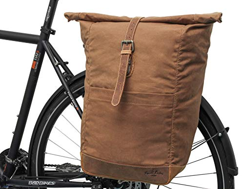 Gusti Miquel I Sac porte-bagages en cuir pour porte-bagages, sacoche de vélo, sacoche arrière de vélo, sac de vélo, sac en toile beige mat, sac bandoulière pour homme et femme