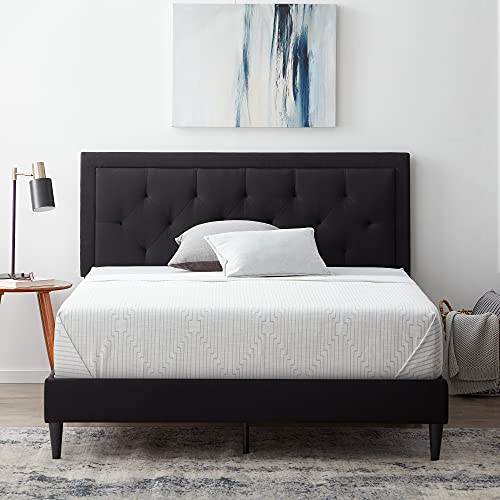 LUCID Upholstered Bed with Diamond Tufted Headboard-Sturdy Wood Build-No Box Spring Required Platform, Queen, Black
