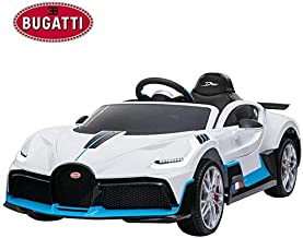 Licensed Bugatti Divo 12V Ride On Car with Remote Control for Kids, 35W High Speed Motors, 4 Wheels Suspension, Openable Doors, LED Lights, Push Button Shifter, Leather Seat, Music Player -White