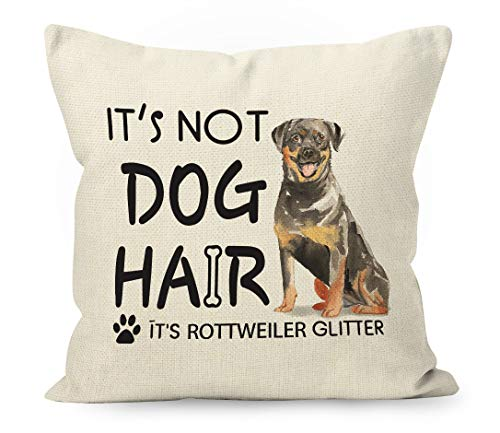 YUESHARE Funny Dog Quote It's Not Dog Hair It's Rottweiler Glitter Watercolor Cotton Linen Throw Pillow Cover, Rottweiler Dog Gifts for Home Room Bed Sofa Decorations Decor (18 x 18 Inch)