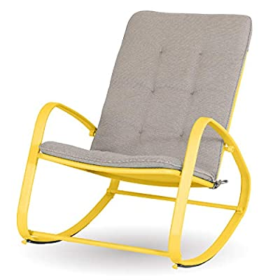 Sophia & William Outdoor Patio Rocking Chair Padded Steel Rocker Chairs Support 300lbs, Yellow
