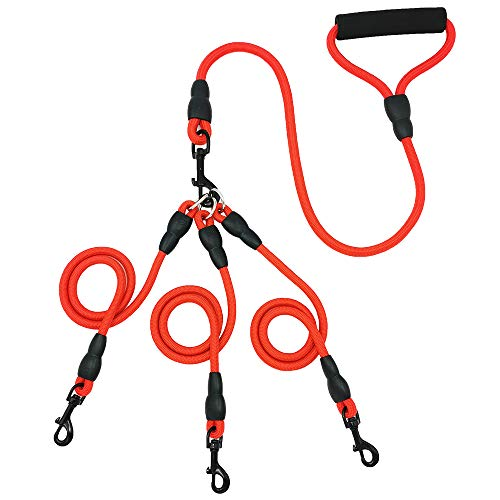Heavy Duty Dog Leash Three Dogs, Detachable 3 in 1 Leash for Dogs 360° Swivel No Tangle with Soft Padded Handle, Suitable for Walking and Training Leashes for Two/Three Dogs (red)