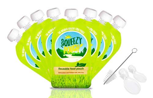 SQUEEZY POUCH *8 STÜCK* Wiederverwendbare Quetschbeutel - BPA Frei - Gefrierschrank & Spülmaschinen geeignet - Mit DOPPELZIPP-ÖFFNUNG *KEIN AUSLAUFEN – LEICHT ZU REINIGEN* (8 x 150ml)