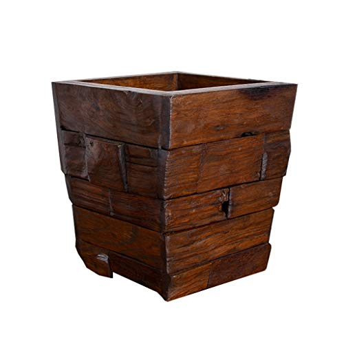 Liex- Retro vuilnisbak van massief hout, keukenafvalbak is eenvoudig en onbedekt, geschikt voor slaapkamer kantoor (afmetingen: 22 × 22 × 25 cm)