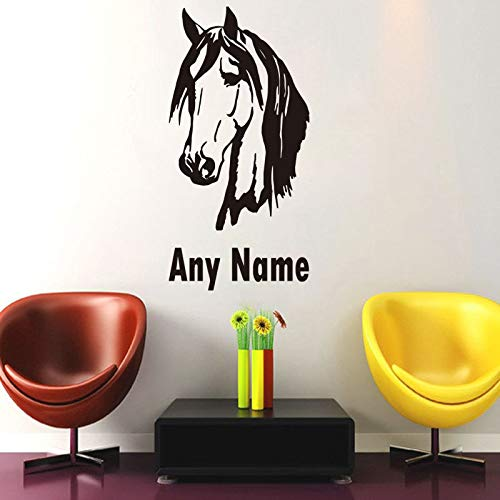 Geiqianjiumai Muursticker met paardenhoofd aangepaste elke naam afneembare vinyl kunst muursticker sticker woonkamer decoratie wandafbeeldingen