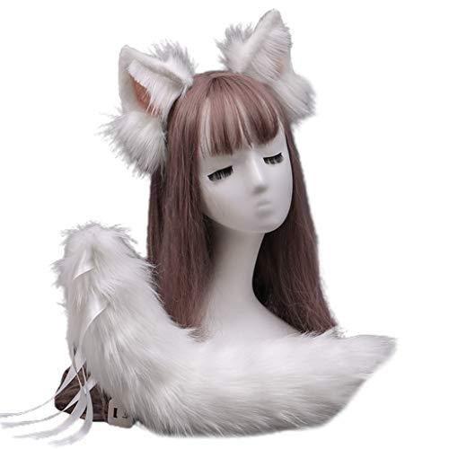 N\A Xiuinserty - Diadema de piel sintética con orejas de lobo para disfraz de Halloween