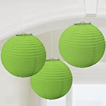 Balloonistics Round Paper Lanterns for Decorations 12 Inch-Set of 3 (Green)