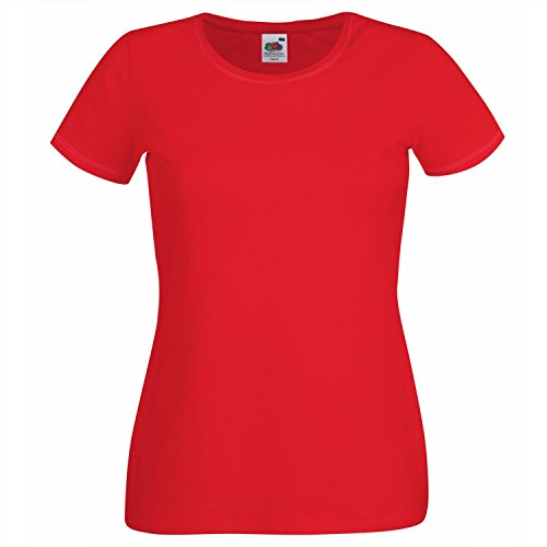 Fruit of the Loom Damen T-Shirt, Ss129m , Gr. S (Herstellergröße: 10), Rot - Rot