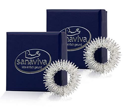 sanaviva® [2 Stk] Akupressurring zur Förderung des Blutflusses mit Anleitung - Praktischer Finger Massagering - Ying Yang Energie Ring – Akupressur – Ring