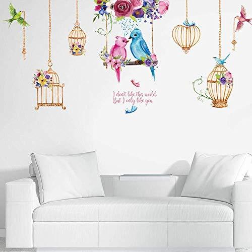 M&OURNM Pegatina de Pared de Dibujos Animados Loro Jaula de pájaros para Sala de Estar Dormitorio habitación de niños decoración de Pared de guardería calcomanías de Vinilo extraíbles murales de Arte