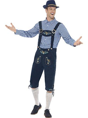 Smiffys Costume traditionnel Rutger le Bavarois Deluxe, Bleu, avec culotte bavaroise et