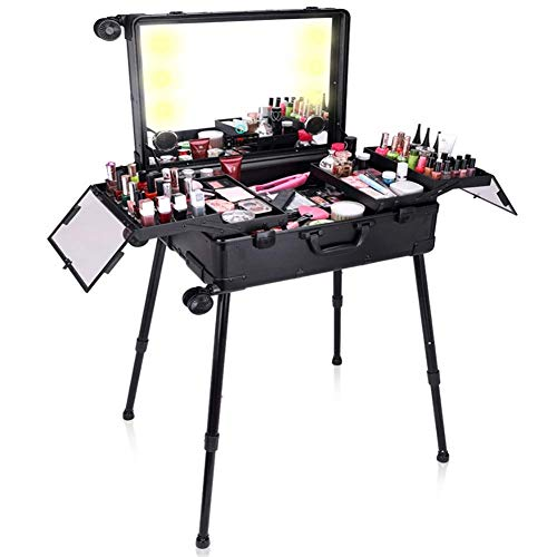 YQSHYP Makeup Train Case, Free Standing Portable Makeup Station with Lighted Mirror, Cosmetic Organizer Box for Makeup Storage, Rolling Artists Travel Studio for Women