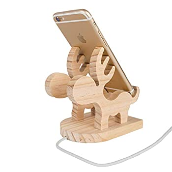 Small elk Solid Wood Mobile Phone Holder Desktop Mobile Phone Holder Fixing Frame All Android Smart Phones Compatible with iPhone/Mobile Phone/iPad Mini/Tablet  4-10 inches