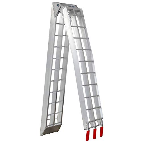 Jago Rampe de Chargement - Lot de 1 ou 2 Pièces, Pliable, en Aluminium, Charge Max. 340 kg par Rampe, Antidérapante, pour Tous Les Motos, Quads, Voitures, Remorques - Rampe, Rails d'Accès