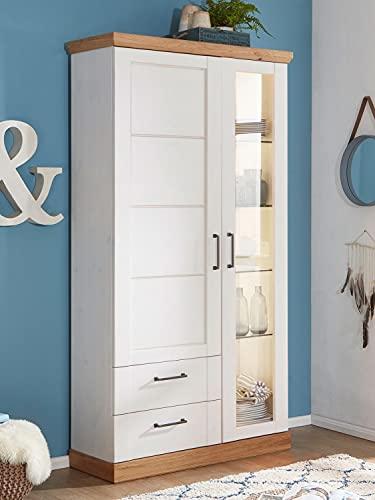 casamia Dynamic24 Bari - Vitrina de cristal (1 puerta de madera, 1 puerta de cristal y 2 cajones), color blanco