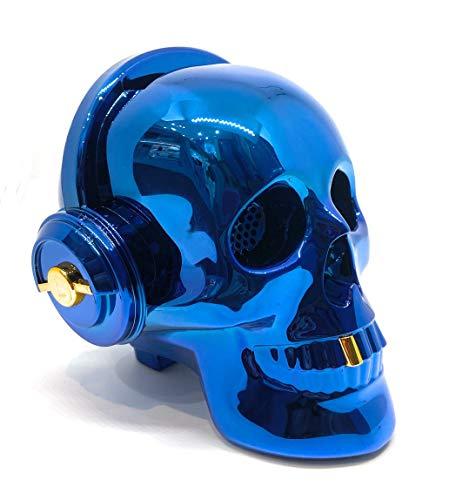 Altavoz Calavera Skull Bluetooth portatil, Tarjeta SD, Pendrive USB, Auxiliar, con Soporte para apoyar el móvil. Bluetooth Skull Speaker (Azul)
